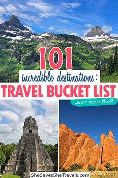 Looking for the best places to travel for your bucket list? This list of 101 destinations will blow your mind! From the world'st best beaches to majestic mountains and historic sight, this is the ultimate guide to building your travel bucket list. | Travel Bucket List | Bucket List | Vacation Ideas | USA Vacation Spots | Caribbean Vacations | Cheap Vacations | Family Vacation Ideas | Honeymoon Ideas | Couples Vacations Travel Info, Travel List, Travel Advice, Solo Travel, Travel Guides, Couples Vacation, Vacation Ideas, Vacation Spots, Bucket List Destinations