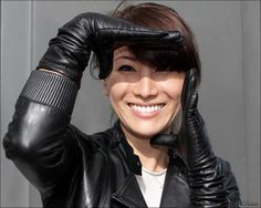 Leather gloves and jacket