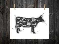 Cow Butcher Diagram Butcher Print Butcher by BentonParkPrints