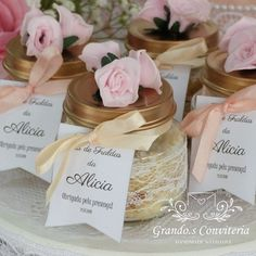 Bridal Shower Favors Diy, Princess Birthday Invitations, Sweet Jars, Boho Chic, Projects To Try, Place Card Holders, Creative, Party, Gifts