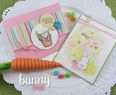 Easter Bunny Cards by Jennifer Jackson | Bunny Hop Stamp set by Newton's Nook Designs