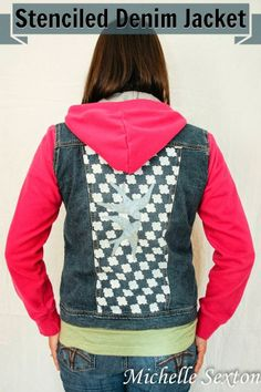 Stencil the back of a denim jacket and create a unique look - click through and learn how at SoHeresMyLife.com - click thru for the full tutorial. #stencil1 #edroth #stenciling #crafts #diy #plaidcrafts #folkart @E D Roth / Stencil1