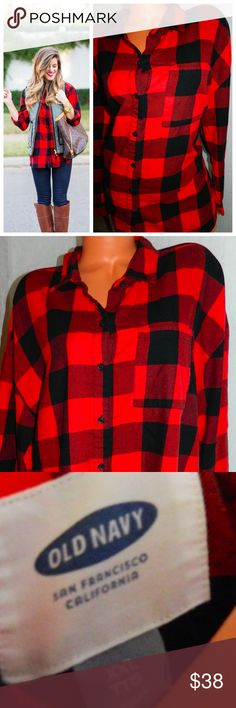 OLD NAVY  Buffalo PLAID Tunic SHIRT Orange 2X XXL In gentle pre-owned condition Old Navy Tops Button Down Shirts