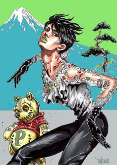 Yuzu Hanryu drawn in the style of Hirohiko Araki ...