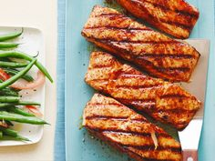 Salmon with Sweet & Spicy Rub : Ellie's 17-minute salmon fillets contain just 280 calories per serving. She saves time in the kitchen with her quick and easy seasoning, which includes chili powder, cumin and some light brown sugar, keeping flavors bold and the fat content low.