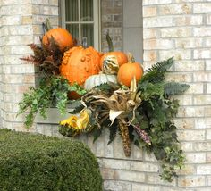 """Gorgeous fall display"" ""Fall window box arrangement"" ""nice fall arrangement"" ""Use for Fall window boxes"" ""Halloween Decorating"" ""halloween/fall decor"" ""theme decor...Fall decorating....Fall windows...Fall container...Fall decoration...Fall decor...fall window decor...planter, fall*...FALL DECOR....fall outdoor design...idea for fall...Fall festival...Harvest time decor...fall decoration…"