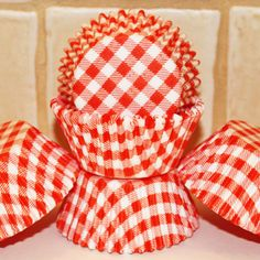 red gingham cupcake papers