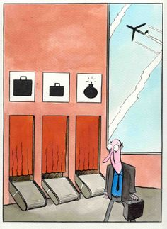"""cartoons of Jarry Jaworski, Poland """"The Airport""""..."""