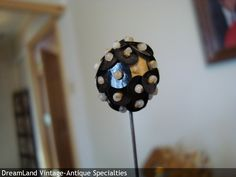 black beaded hat pin -  MAKE $ OFFER DreamLandSpecialties@comcast.net