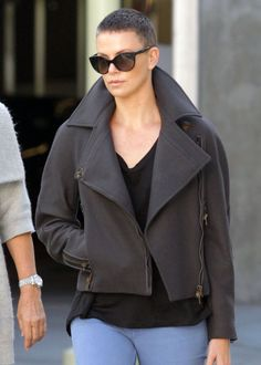 Charlize shaved head - makes me a little braver when I think about St. Baldrick's to see women look beautiful with shaved heads