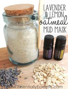 Lavender & Lemon Oatmeal Mud Mask | www.EssentiallyEclectic.com | This DIY recipe uses lavender buds, lemon and lavender essential oils, bentonite clay and ground oatmeal to make a mud mask that leaves your face soft and glowing!