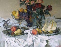 Розы, фрукты и дыня. Холст, масло. 80х90 см. 2007. Roses, fruits and melon. Oil, canvas. 80x90 cm. 2007