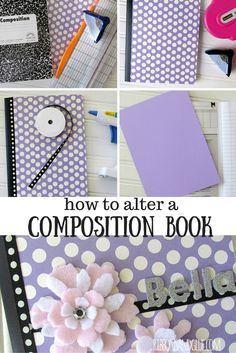 Tutorial on how to alter a Composition Book. Turn a plain composition book in to a personalized journal with scrapbooking paper and embellishments. Composition Notebook Covers, Altered Composition Notebooks, Journal Covers, Book Journal, Bullet Journal, Diy Interior, Book Crafts, Paper Crafts, 3d Paper