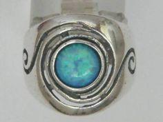 Sterling silver ring Israeli rings blue opal bague bleu argent anillo plata