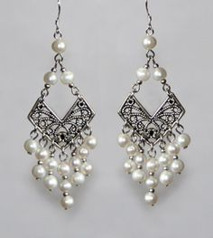 Tibetan style pearl chandelier earrings