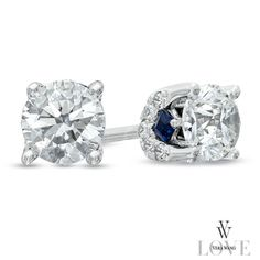 Vera Wang LOVE Collection 3/4 CT. T.W. Diamond Stud Earrings in 14K White Gold - Zales