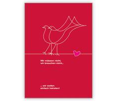 Hochzeitskarte: Wir müssen nicht - wir wollen heiraten - http://www.1agrusskarten.de/shop/hochzeitskarte-wir-mussen-nicht-wir-wollen-heiraten/    00012_0_1498, Brautpaar, Grußkarte, heiraten, Helga Bühler, Hochzeit, Klappkarte, Standesamt, Tauben, Trauung00012_0_1498, Brautpaar, Grußkarte, heiraten, Helga Bühler, Hochzeit, Klappkarte, Standesamt, Tauben, Trauung