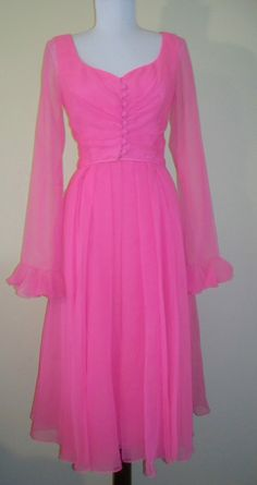 Hot Pink Fully Lined Chiffon Dress with Fabric Buttons,  Rouched Bodice, and Sheer Sleeves with Small Ruffle.  #HelenRose for Robinsons $99