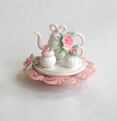 Miniature Shabby Rose Tea Set OOAK by C. Rohal by ArtisticSpirit