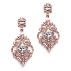 Amazon.com: Mariell Victorian Scrolls 14k Rose Gold Plated Cubic Zirconia Wedding or Evening Chandelier Earrings: Jewelry