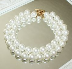 Anne Klein Charming and Chunky Dual Strand of Oversized Faux Pearl Beads Neclace   eBay