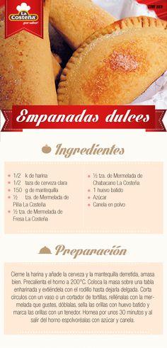 Empanadas dulces #receta #lacosteña #dulce Mexican Pastries, Mexican Sweet Breads, Mexican Bread, Mexican Dishes, Mexican Food Recipes, Dessert Recipes, Sweet Desserts, Sweet Recipes, Delicious Desserts