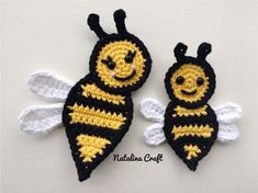 Free crochet pattern: Appliques - Bee (family of bees!)