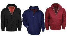 Buy: Men's Harrington Bomber Jacket - 3 Colours for just: £14.99 Keep looking cool as the temperatures drop with the Harrington Jacket      Vintage feel saying with a classic tartan lining      Available in navy, black or burgundy      Choose from sizes S, M, L, XL and 2XL      See Full Details for size guide      Ribbed elastic cuff and hem for a closer fit      Features flap pockets and...
