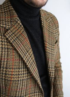 Plaid Wool Jacket, and Black Turtleneck, Classic men's Fall winter Fashion.