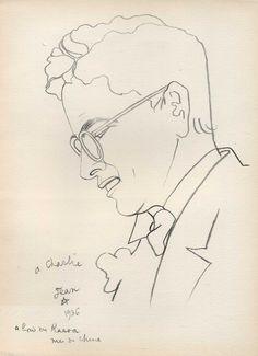 Jean COCTEAU ' Charlie CHAPLIN ' Lithographie originale F. Mourlot Paris 1945