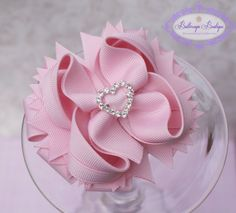 Light pink hair bow Pink layered hair bow by buttercupsbows, $10.49