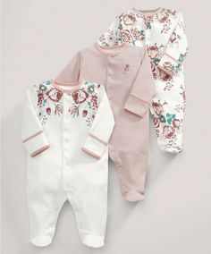 All-in-Ones (3 Pack) Vintage Floral Print - 3 For 2 Baby Basics - Mamas & Papas