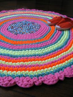Bright rainbow crochet rug  mat  upcycled cotton  by Chompa, $200.00