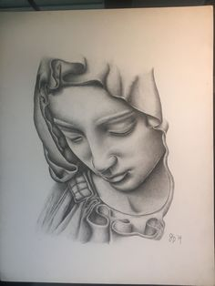Virgin Mary done in acrylic pencil Chicano Tattoos, Tattoos Skull, Body Art Tattoos, Hand Tattoos, Sleeve Tattoos, Virgen Maria Tattoo, Tattoo Sketches, Tattoo Drawings, Tattoo Crane