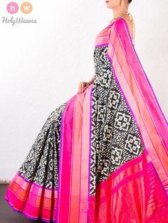 #Black #Katan #Silk #Double #Ikat #Pochampally #Handwoven #Saree #HolyWeaves