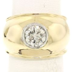 1afea870a963 14k Yellow Gold 1.05ct Bezel Set Round Diamond Solitaire Wide Polished Dome  Ring…