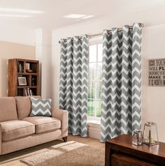 Exceptional Charcoal Chevron Eyelet Curtains. Grey Chevron CurtainsGrey Living Room ...
