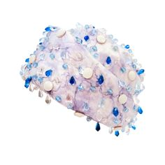 Christian Dior Purple Brocade Hat w/ Blue, White & Clear Beading   From a collection of rare vintage hats at http://www.1stdibs.com/fashion/accessories/hats/1960's