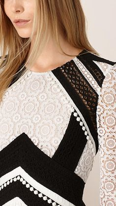 White A-Line Patchwork Lace Cotton Silk Dress - Image 3