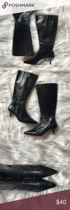 Arturo Chiang Leather Heeled Boots Amazing boots and they are in amazing condition! No flaws rips, etc on outer and they are beautiful. Only flaw is on inside as shown in picture. Heel is only 1.5 inches. Zippers fully function. Arturo Chiang Shoes Heeled Boots