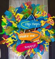 Summer Wreath, Flip Flop Wreath, Deco Mesh Wreath, Summer Door Hanger, Summer Decoration, Ready to Ship by OccasionsBoutique on Etsy #wreaths #occasionsboutique #Etsy #summer #flipflops