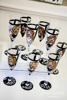 Custom champagne flutes -- I know *someone* be willing to craft some personalized funky glasses like this for that first night! Bridesmaid Glasses, Bridesmaids, Gifts For Wedding Party, Wedding Ideas, Party Gifts, Wedding Stuff, Funky Glasses, Champagne Flutes, Champagne Toast