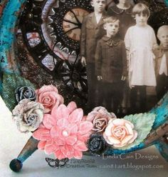Friends Who Love Art - a beautiful detail from Linda's post + step by step tutorial of how to alter Finnabair's frame