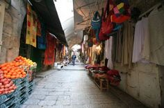 Shuk / Market, Old City, Jerusalem, Israel  The old city Shuk (market) is located between Jaffa Gate and the Temple Mount. It is as colorful as it is full of personalities, set within the narrow alleys, it is truly a unique experience.