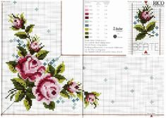This Pin was discovered by Esr Cute Cross Stitch, Cross Stitch Rose, Cross Stitch Borders, Cross Stitch Flowers, Cross Stitch Designs, Cross Stitch Patterns, Diy Embroidery, Cross Stitch Embroidery, Rico Design