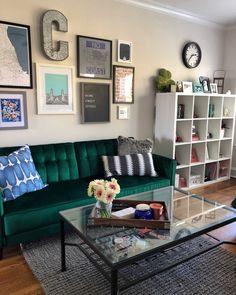 Dinning Room Wall Decor, Ikea Kallax Shelving, Velvet Couch, Green Velvet, Gallery Wall, Decorating, Future, Interior, Design