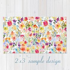 Throw Rug with Watercolor Floral Design от pineapplebaystudio