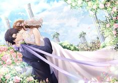 Romantic Anime Couples, Falling Stars, Love Quotes For Him, Love Pictures, Koi, Alice In Wonderland, Manga Anime, Bride, Cute