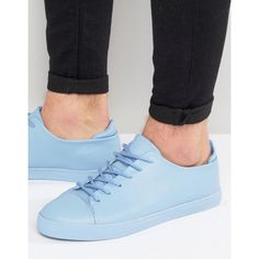 ASOS Lace Up Sneakers In Pastel Blue Block ($24) ❤ liked on Polyvore featuring men's fashion, men's shoes, men's sneakers, blue, mens blue sneakers, asos mens shoes, mens lace up shoes, mens blue shoes and vegan mens shoes