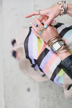 good accessories - : Michele Watch, JewelMint XO rings, Turquoise Coach Rings, Pomellato, Jcrew pave bracelet, David Yurman bracelet.